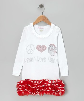 White & Red 'Peace Love Santa' Ruffle Dress - Infant, Toddler & Girls