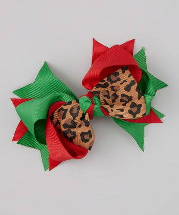 Red & Green Leopard Bow Clip