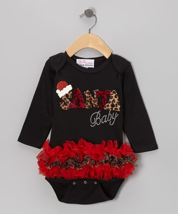 Black 'Santa Baby' Long-Sleeve Ruffle Bodysuit - Infant