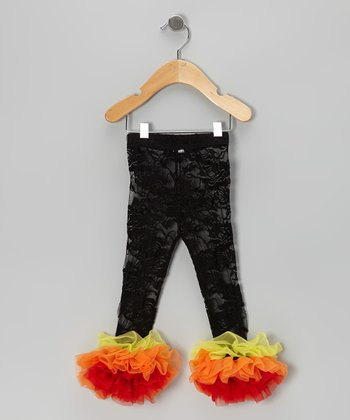 Black & Orange Lace Ruffle Leggings - Infant, Toddler & Girls