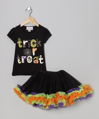 Black Sparkle 'Trick' Tee & Tutu - Infant, Toddler & Girls