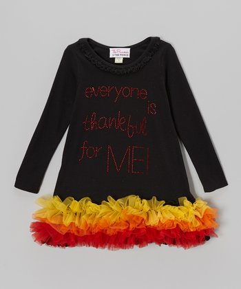 Black 'Thankful' Long Sleeve Tutu Dress - Infant, Toddler & Girls