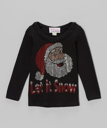 Black 'Let It Snow' Long Sleeve Tee - Infant, Toddler & Girls