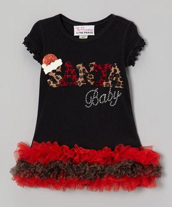 Black & Red 'Santa Baby' Ruffle Dress - Infant, Toddler & Girls