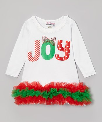 White 'Joy' Ruffle Dress - Infant, Toddler, Girls
