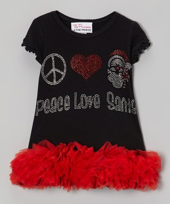 Black & Red 'Peace Love Santa' Ruffle Dress - Infant, Toddler & Girls