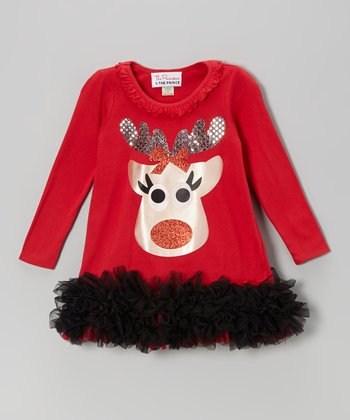 Red & Black Reindeer Ruffle Dress - Infant, Toddler & Girls
