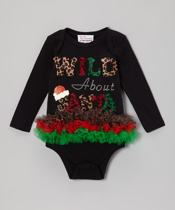 Black 'Wild About Santa' Ruffle Bodysuit - Infant