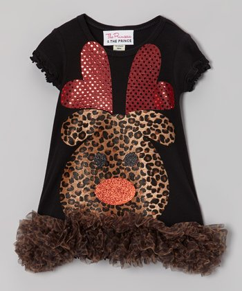 Black Leopard Print Reindeer Ruffle Dress - Infant, Toddler & Girls