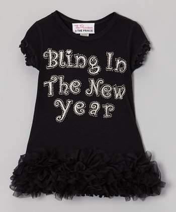 Black 'Bling In' Ruffle Dress - Infant, Toddler & Girls