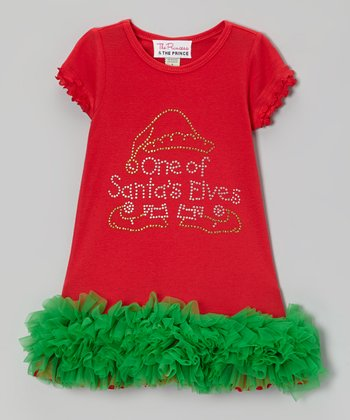 Red & Green 'One of Santa's Elves' Ruffle Dress - Infant, Toddler & Girls