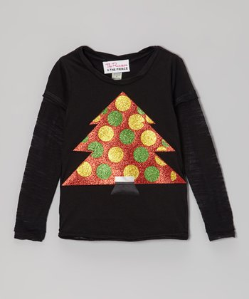 Black & Red Christmas Tree Top - Infant, Toddler & Girls