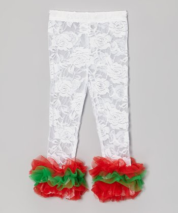 White & Red Lace Ruffle Leggings - Infant, Toddler & Girls