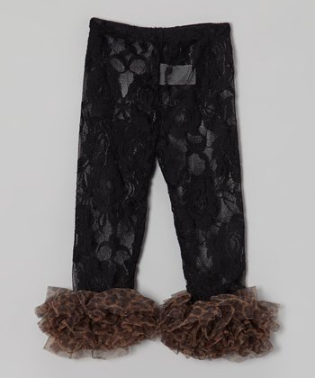 Black Lace Leopard Ruffle Leggings - Infant, Toddler & Girls