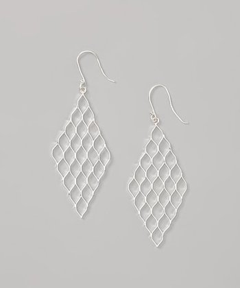 Sterling Silver Diamond Mesh Earrings