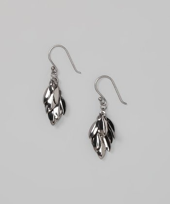 Gunmetal Sterling Silver Leaves Earrings