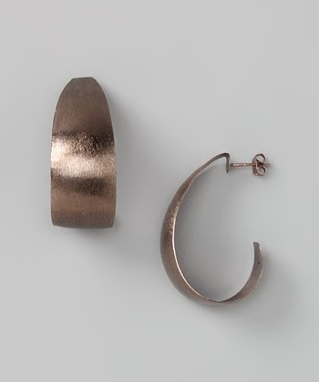 Chocolate Sterling Silver Wide Hoop Earrings