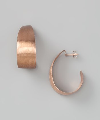 Rose Gold & Sterling Wide Hoop Earrings