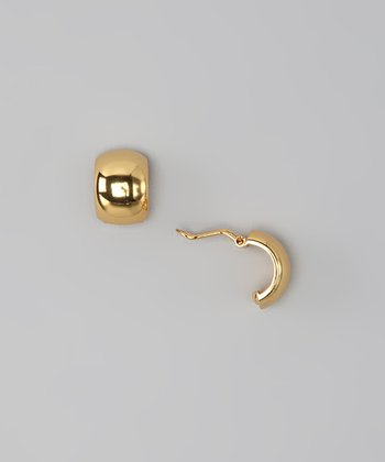 Gold Semicircle Huggie Earrings