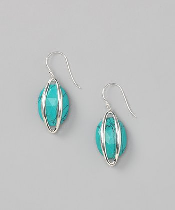 Sterling Silver & Turquoise Stripe Earrings