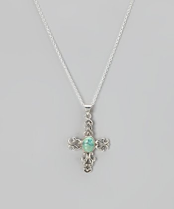 Sterling Silver & Turquoise Decorative Cross Pendant Necklace