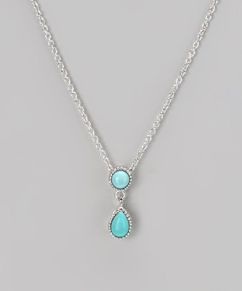Sterling Silver & Turquoise Double Ball Pendant Necklace