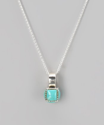 Sterling Silver & Turquoise Circle Pendant Necklace