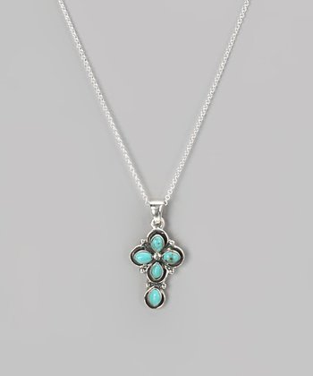 Sterling Silver & Turquoise Small Cross Pendant Necklace