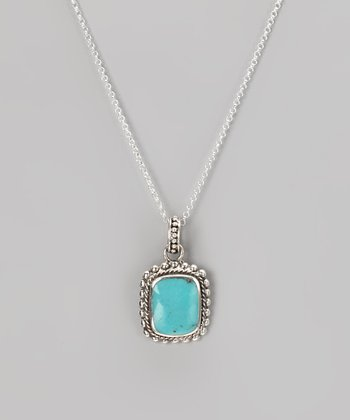 Sterling Silver & Turquoise Square Pendant Necklace