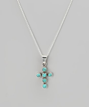 Sterling Silver & Turquoise Cross Pendant Necklace
