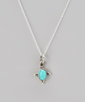 Sterling Silver & Turquoise Triangles Pendant Necklace