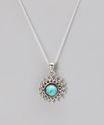Sterling Silver & Turquoise Sunrise Pendant Necklace