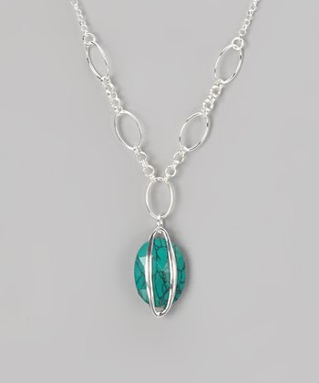 Sterling Silver & Turquoise Stripe Pendant Necklace