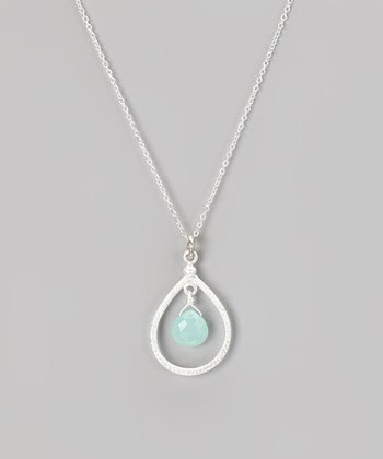 Sterling Silver & Aqua Chalcedony Pendant Necklace