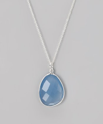 Sterling Silver & Blue Chalcedony Pendant Necklace