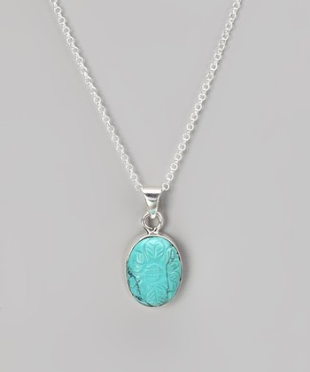 Sterling Silver & Turquoise Oval Pendant Necklace