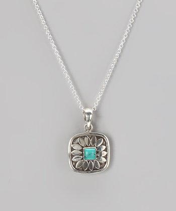 Sterling Silver & Turquoise Center Pendant Necklace