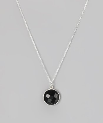Onyx & Sterling Silver Pendant Necklace