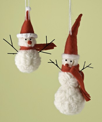 Wool Snowman Ornament Set