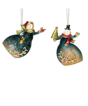 Cardinal & Tree Snowman Ornament Set