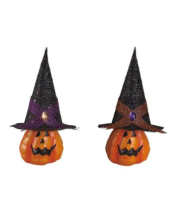 Small Witch Hat Pumpkin Figurine - Set of Two