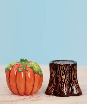 Pumpkin & Stump Salt & Pepper Shakers