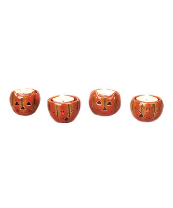 Ceramic Pumpkin Candleholder Set