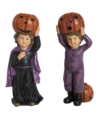 Retro Halloween Standing Children Figurine Set