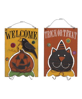 'Welcome' & 'Trick or Treat' Halloween Hanging Sign Set