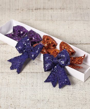 Small Glitter Bow Ornament Set