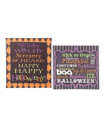 Witchy Scary Canvas Word Sign Set