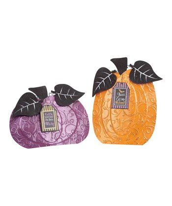 Metal Pumpkin & Hang Tag Set