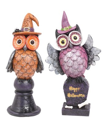 Orange & Purple Owl Figurine Set