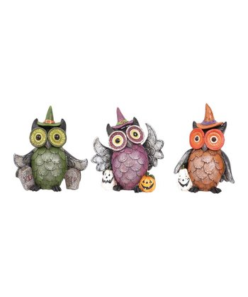 Sitting Owl Festive Figurine Set